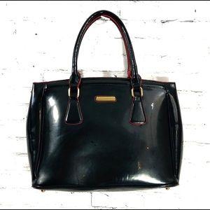 Adrienne Vittadini Purse Black Patent Leather Tote